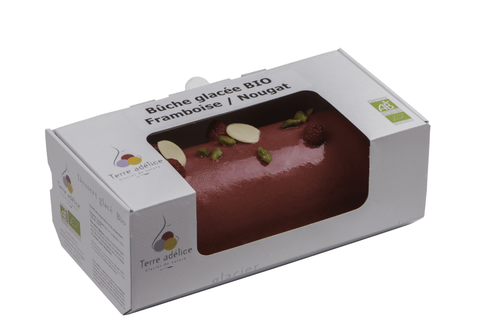 Buche Glacee Bio Terre Adelice Framboise-Nougat Emballee