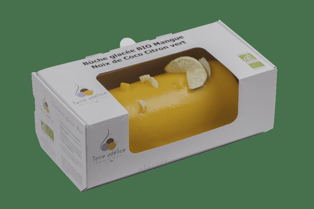 Buche Glacee Bio Terre Adelice Mangue-Noix de Coco-Citron Vert Emballee